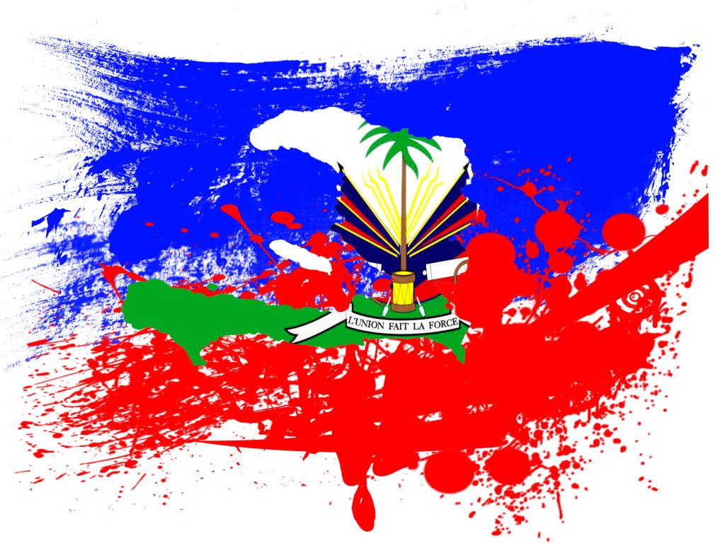 Haiti Flag Color Splash Wallpaper
