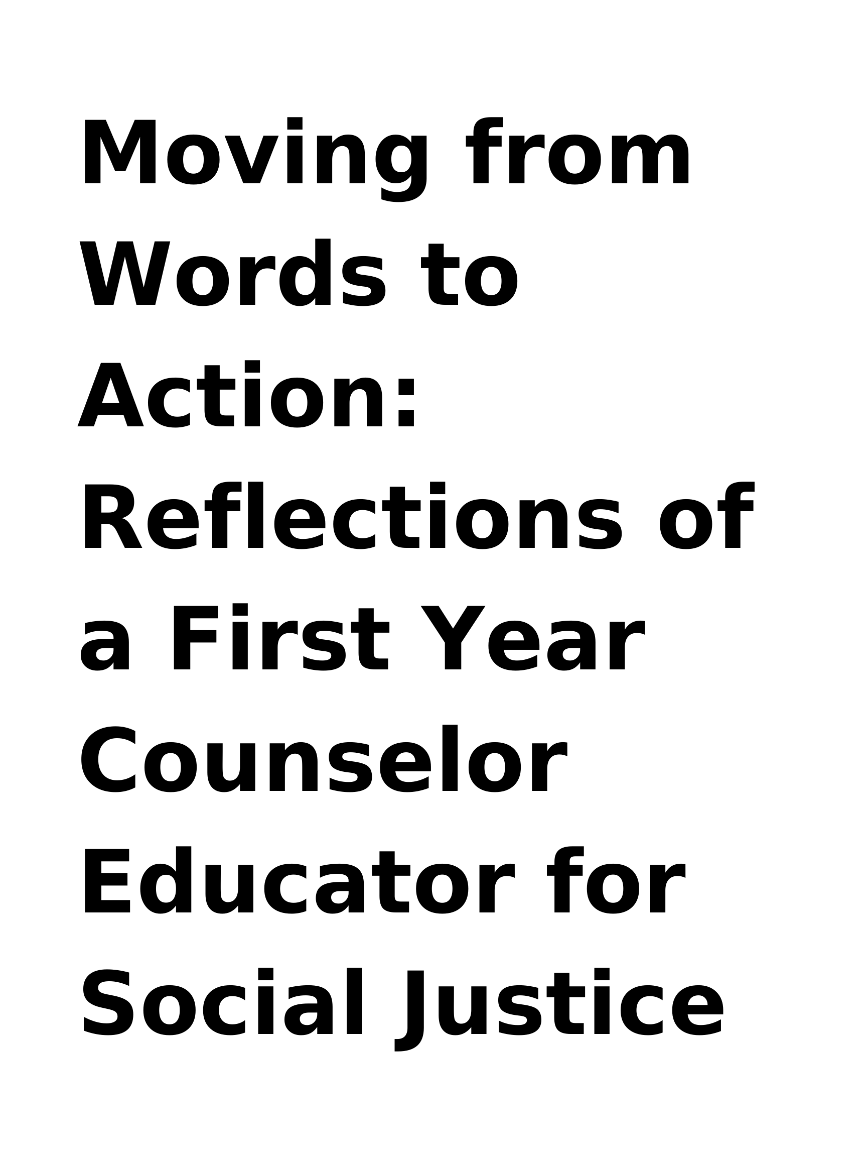 Moving from Words to Action_ Reflections of a First Year Counselor Educator for Social Justice