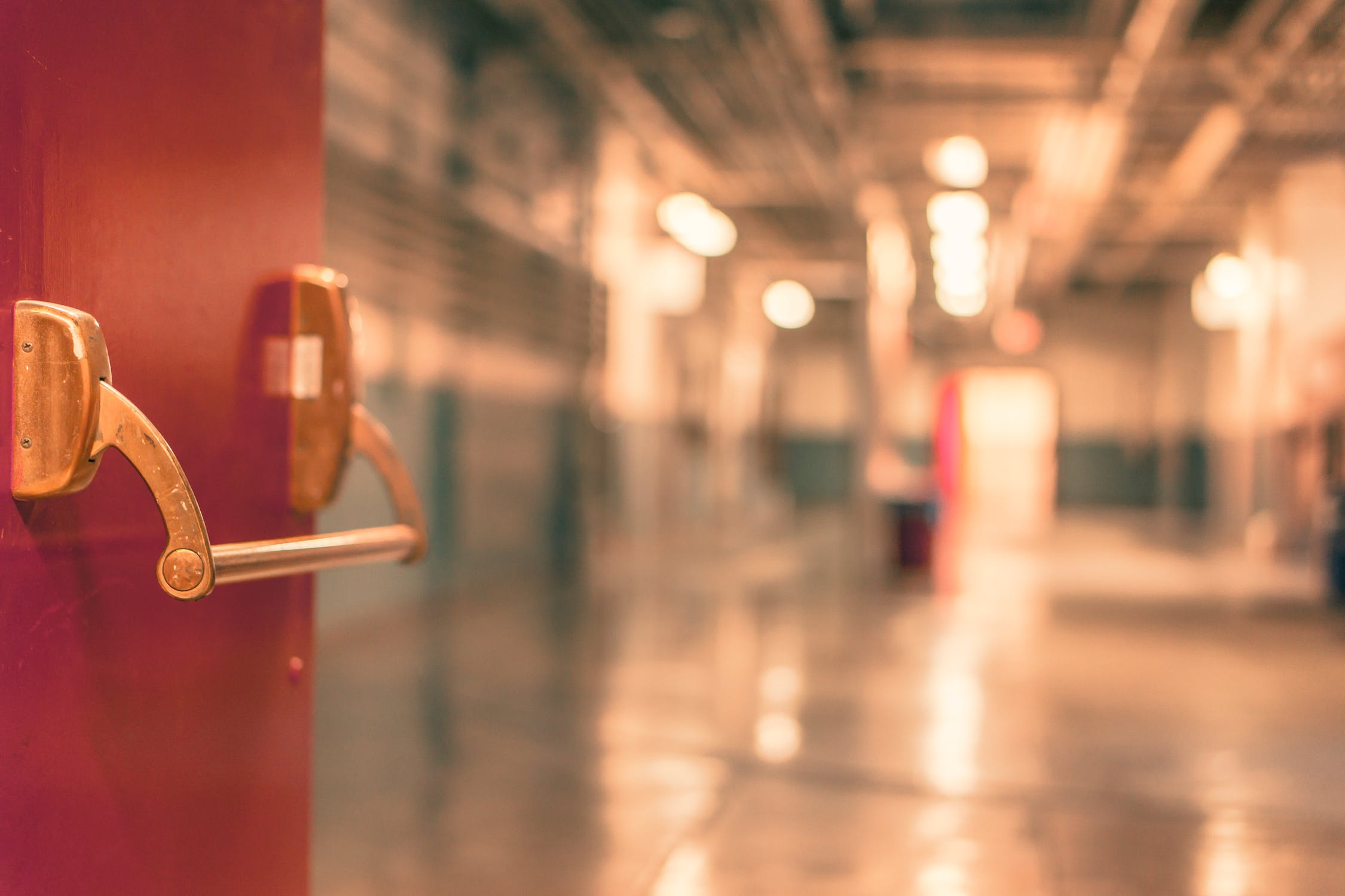Red door school hallway