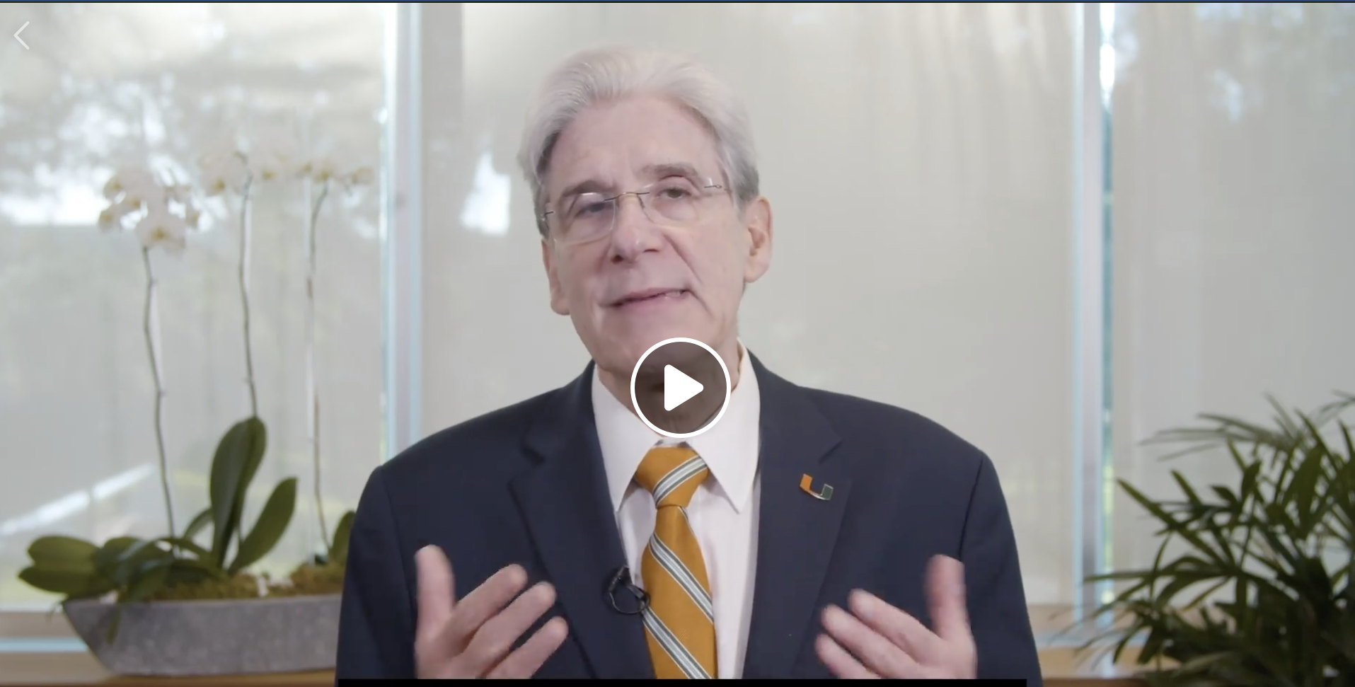 A video message to the University of Miami community from President Julio Frenk on the Coronavirus