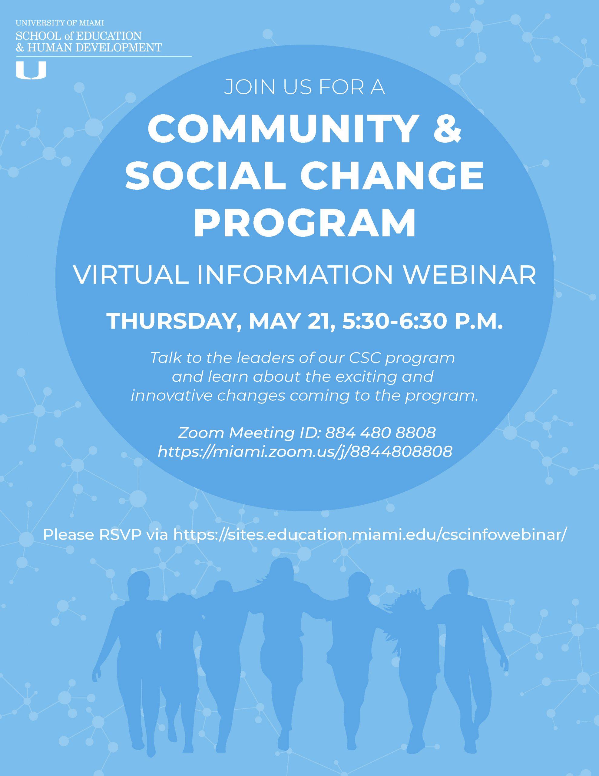 Community and Social Change Program Virtual Information Webinar